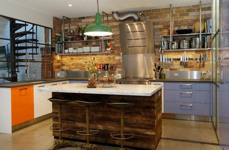 cocina estilo industrial toques colores interesantes ideas