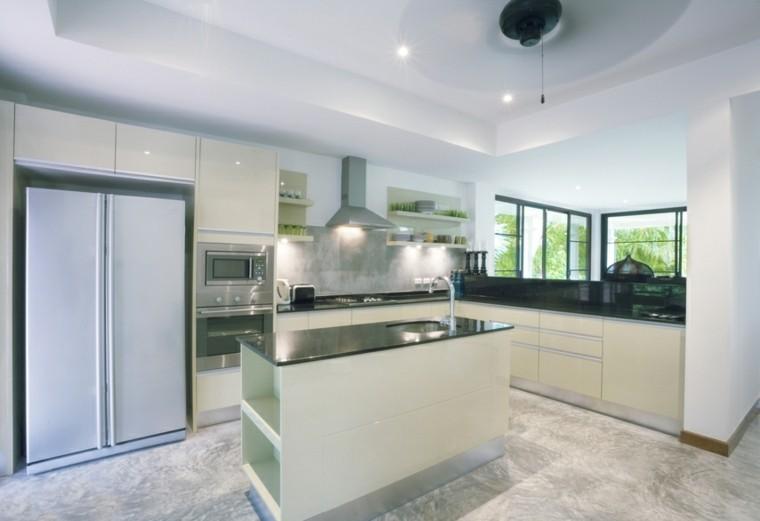 cocina estilo futurista blanco gris