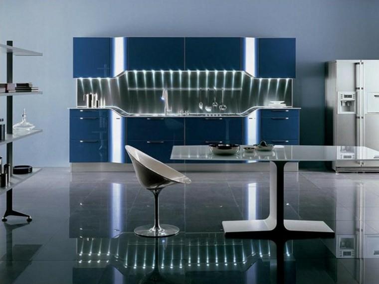 diseño cocina futurista color azul