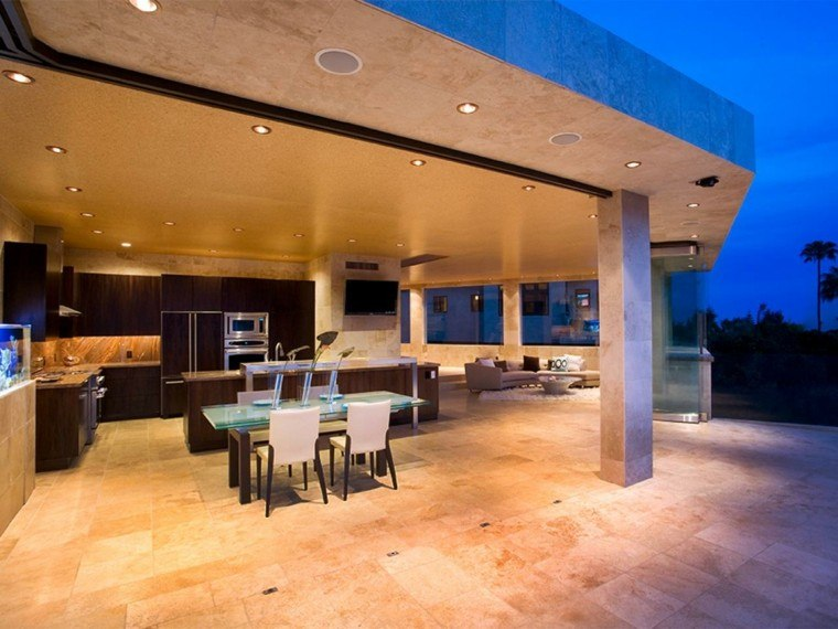 cocina grande abierta exterior muebles marron oscuro ideas
