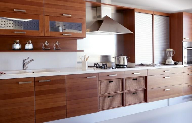 cocina grande muebles madera roja