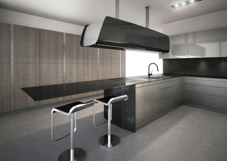 cocina color gris diseño futurista