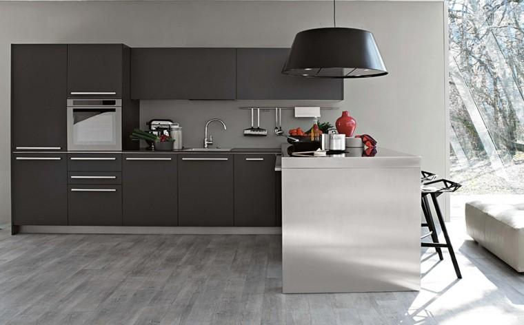 cocina color gris isla acero