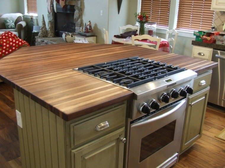 cocina horno encimera madera armarios verdes ideas