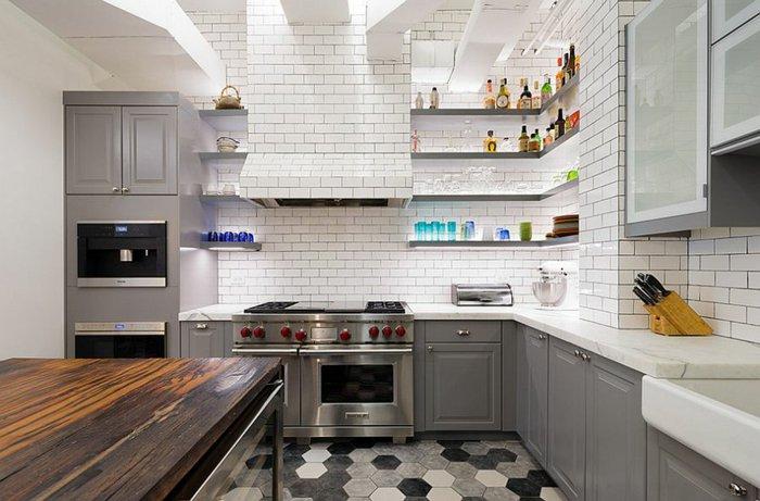 Electrodomesticos y cocinas de aspecto industrial 100 ideas - Cocinas con azulejos blancos ...