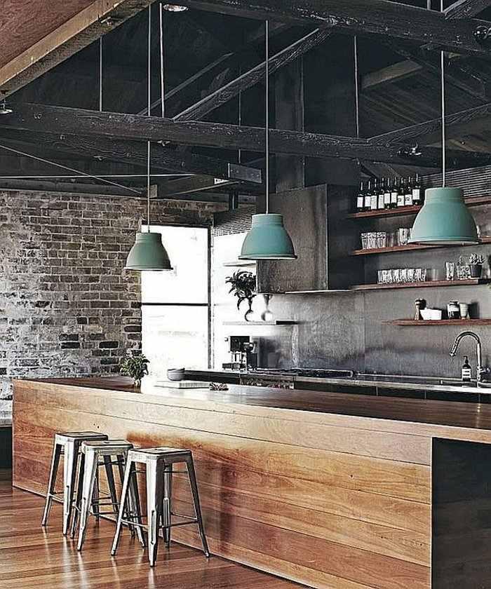 cocina industrial lamparas colgantes verdes electrodomesticos