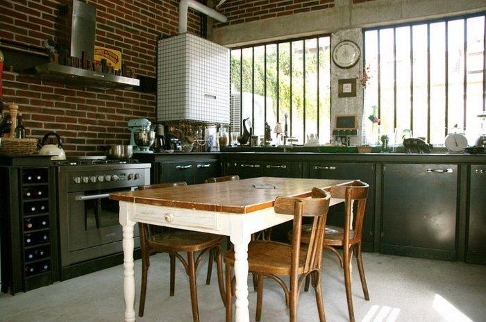 cocina estilo industrial metal verde