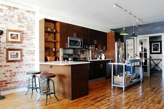 Electrodomesticos y cocinas de aspecto industrial 100 ideas - Pared pizarra cocina ...