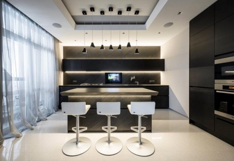 cocina isla colors oscuros muebles ideas modernas