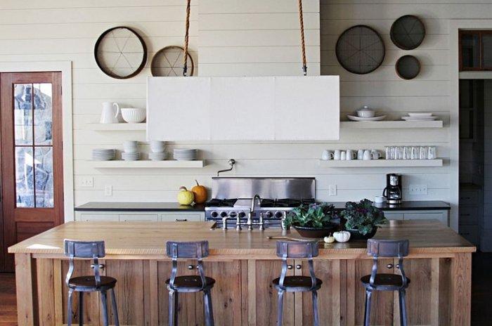 cocina isla madera listones natural