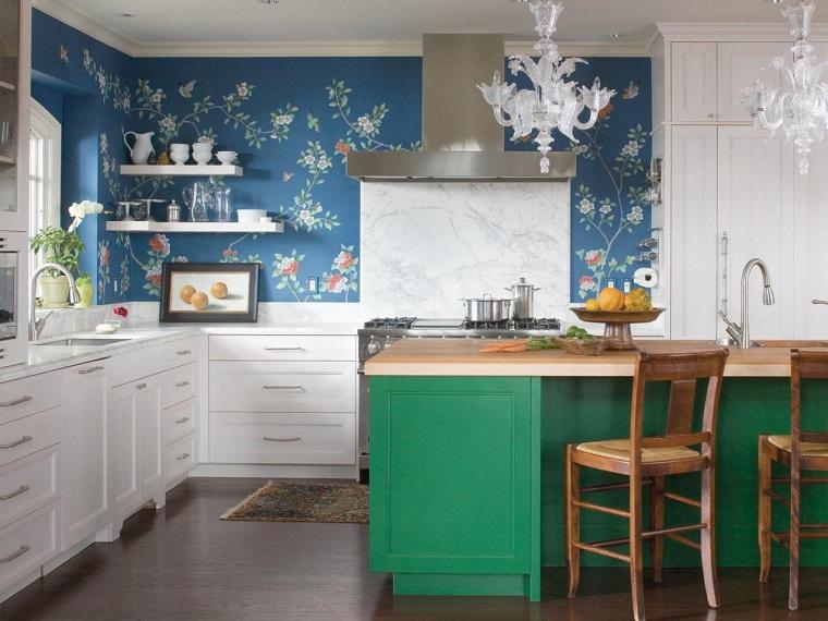 cocina isla madera verde encimera marmol ideas