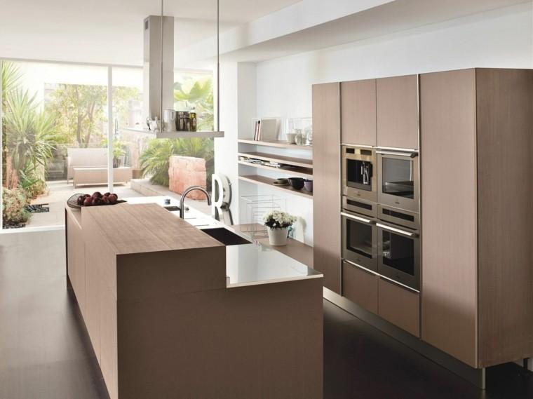 cocina isla moderna muebles madera ventanal ideas