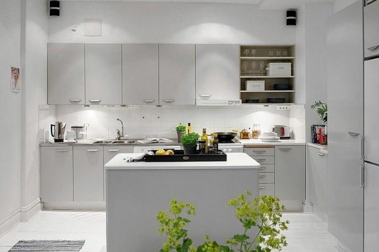 cocina isla pequena muebles color gris ideas