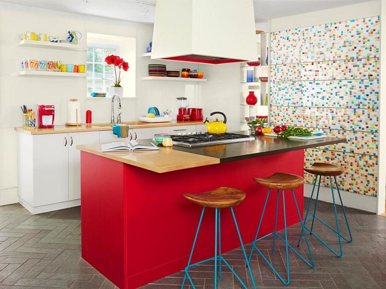 cocina isla roja encimera madera granito ideas