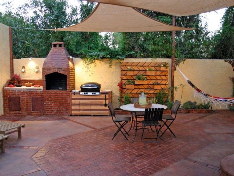 cocina jardin ladrillo mueble madera mesa sillas ideas