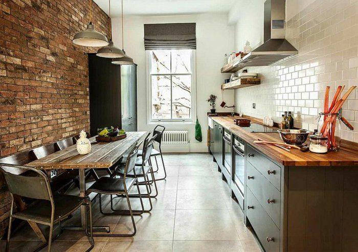 cocina ladrillos pared blanca azulejos