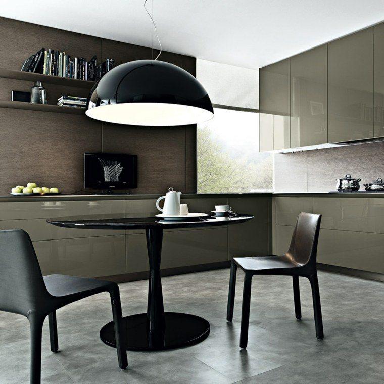 cocina lampara moderna mesa sillas negros ideas