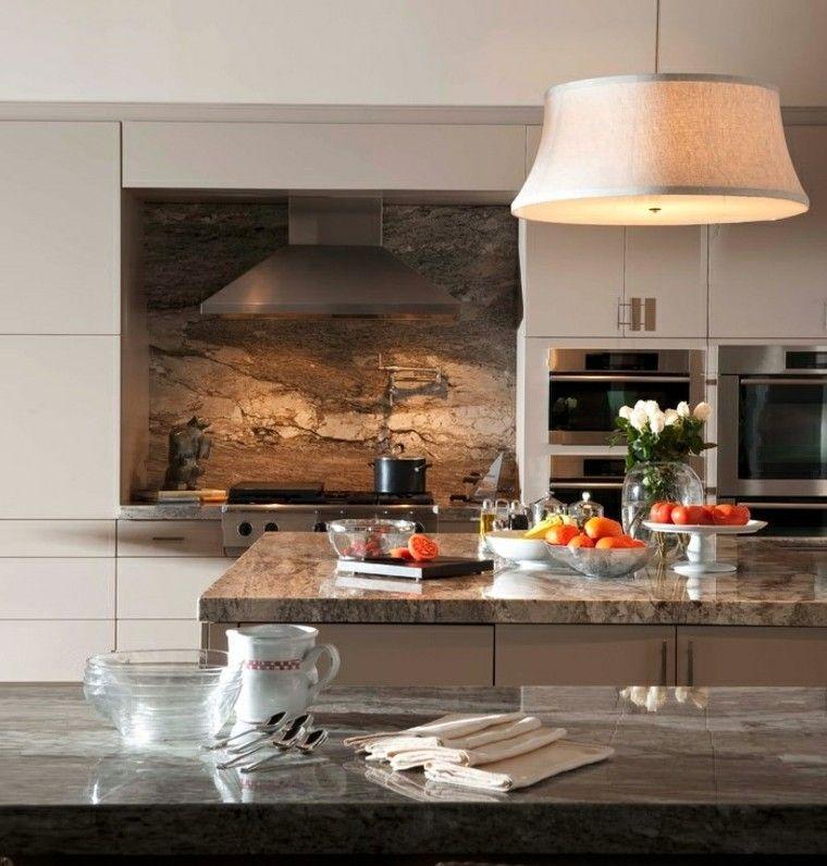 cocina lujo encimeras pared marmol ideas