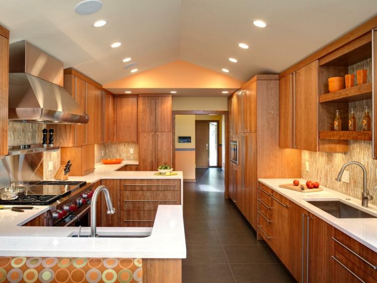 cocina madera diseño moderno luces