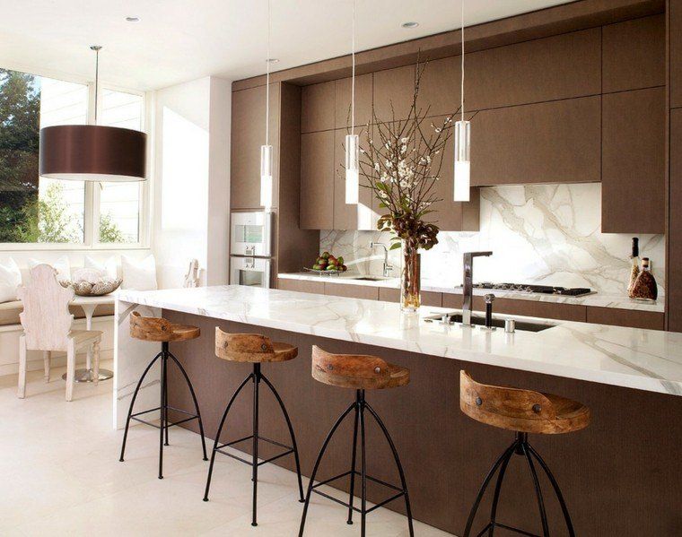 cocina color marron estilo moderno