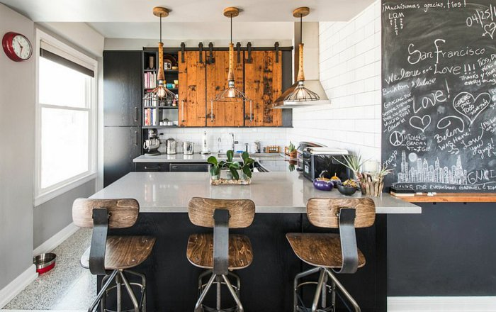 cocina moderna  industrial pared pizarra