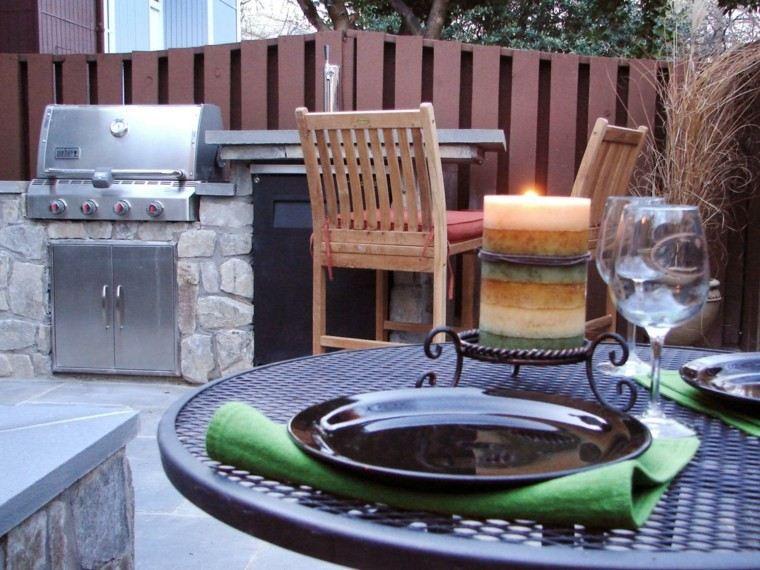 cocina moderna acero piedra exterior barbacoa ideas