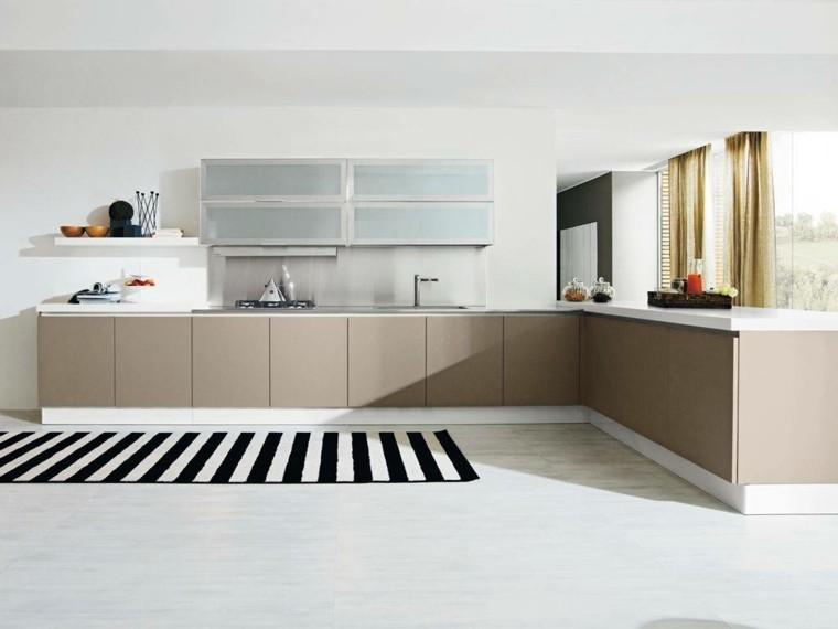 cocina moderna alfombra rayas blanco negro ideas
