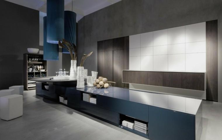 cocina moderna tonos azul marron
