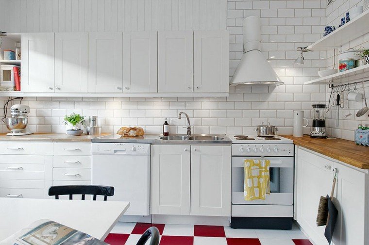 cocina moderna azulejos blancos metro