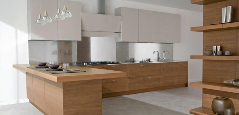Dise o de cocinas modernas 100 ejemplos geniales for Cocinas color madera y blanco