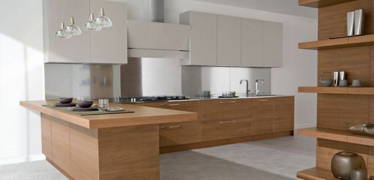 Dise o de cocinas modernas 100 ejemplos geniales - Cocinas de madera modernas ...