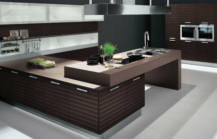 cocina moderna madera color marron