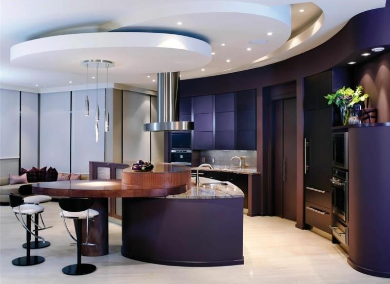 cocina moderna muebles color purpura