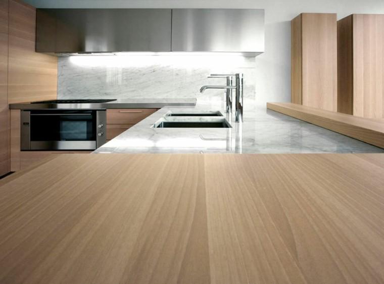 cocina moderna combinacion encimera granito madera ideas