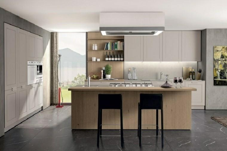 cocina moderna encimera madera amplia isla ideas