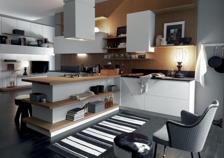 cocina moderna encimera madera armarios blancos ideas