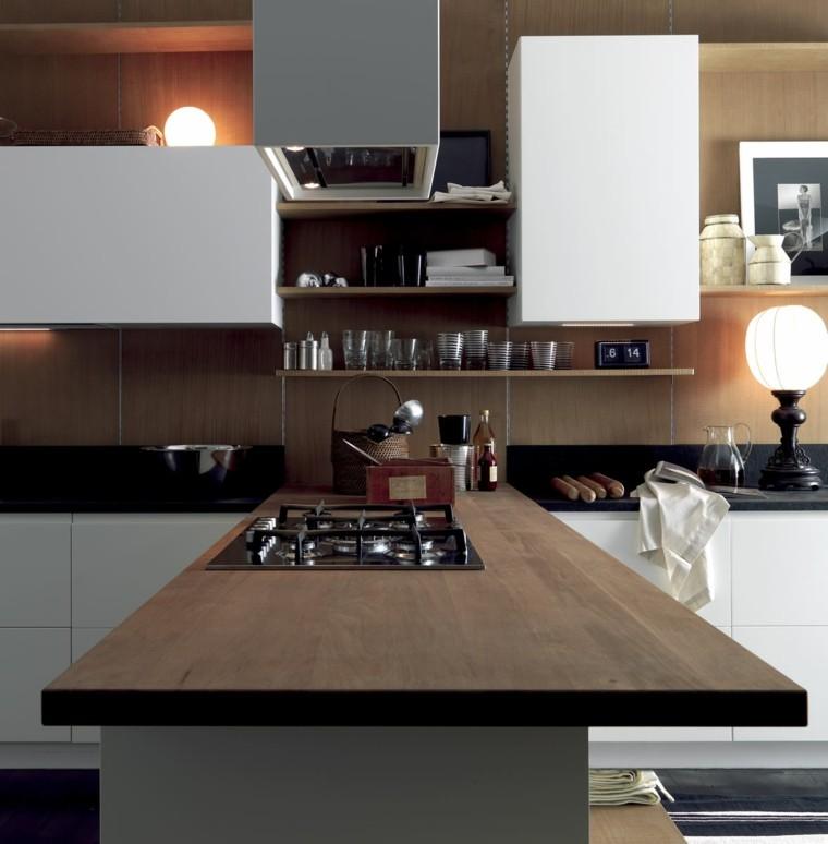 cocina moderna encimera madera estantes ideas