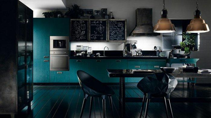 cocina moderna estilo industrial verde