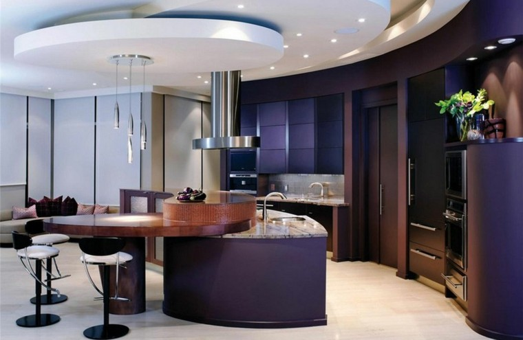 cocina moderna isla interesante purpura ideas