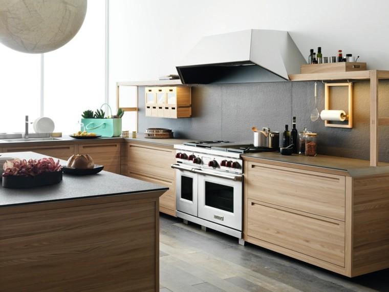 cocina moderna madera encimeras isla ideas