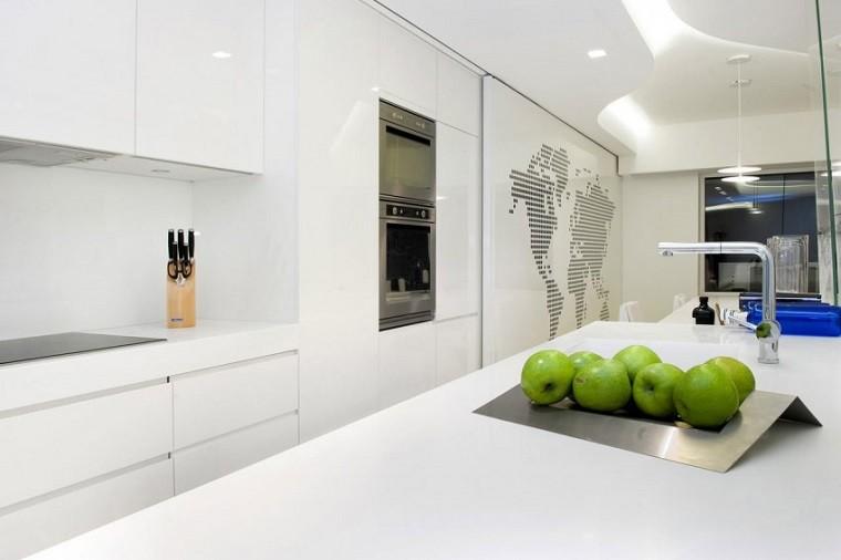 cocina moderna manzanas verdes blanca