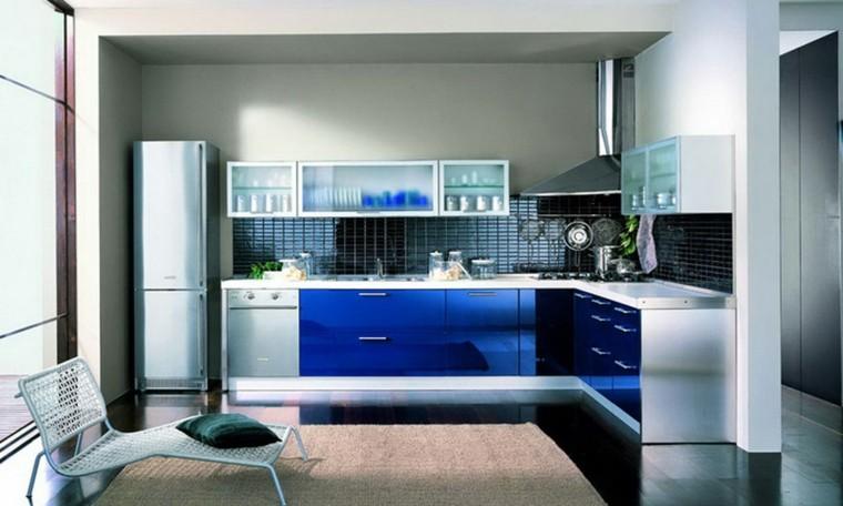 cocina moderna muebles color azul ideas