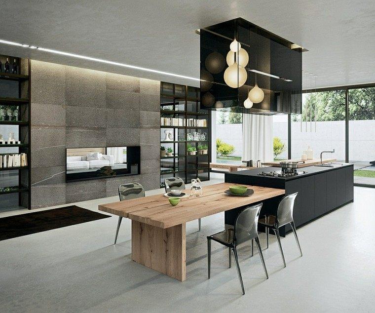 Dise o de cocinas modernas 100 ejemplos geniales - Cocina moderna madera ...