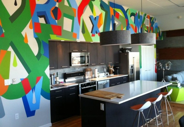 graffiti cocina moderna pared decorada preciosa ideas