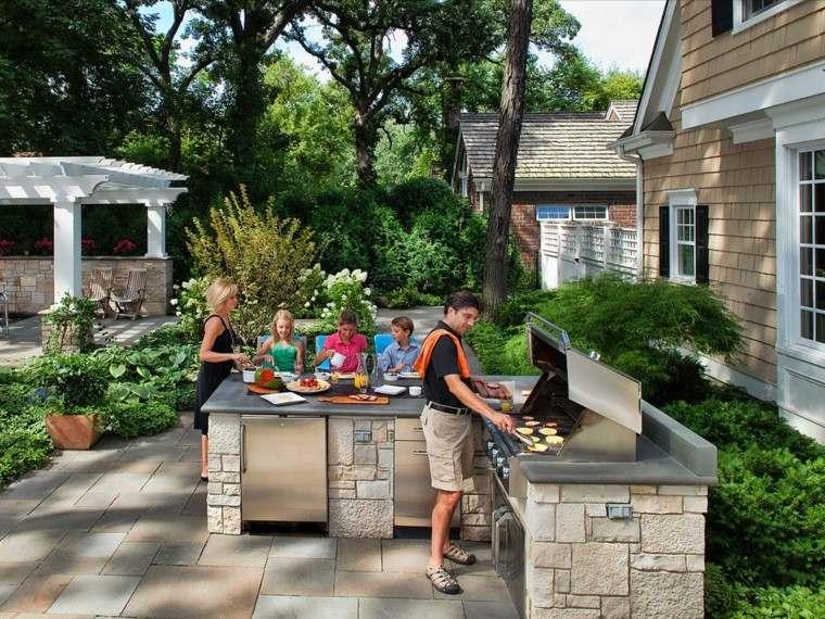 cocina moderna piedra acero inoxidable jardin amplio ideas