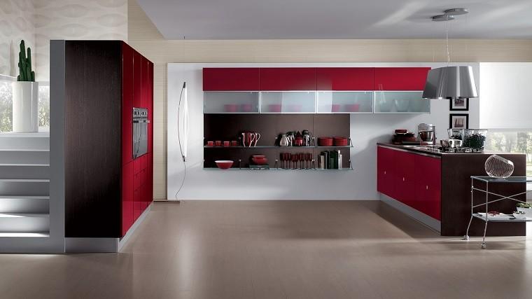 cocina moderna rojo acento acero plantas