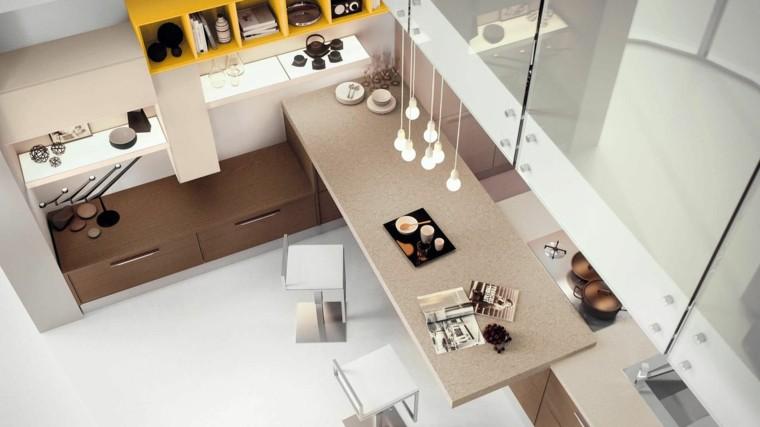 cocina moderna sillas altas encimaras madera ideas