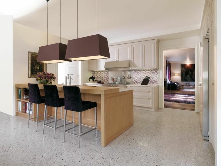 cocina moderna sillas altas negras encimera madera ideas