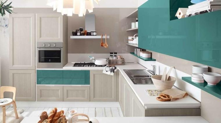 cocina muebles azul gris combinacion ideas