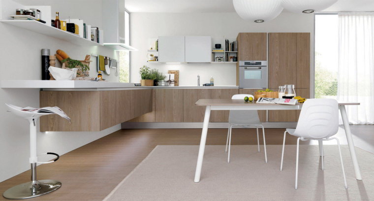 cocina muebles madera abierta comedor ideas